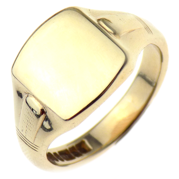 Pre-Loved Gents 9ct Yellow Gold Rectangular Solid Signet Ring