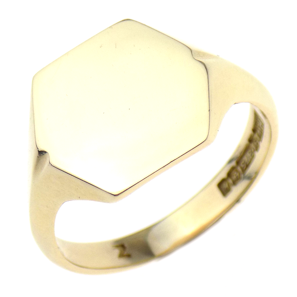 Pre-Loved Gents 9ct Yellow Gold Hexagonal Shape Signet Ring