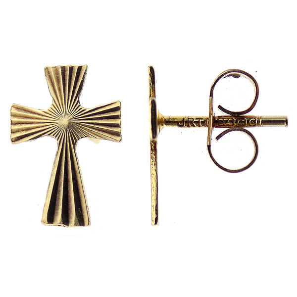 Pre-Loved 9ct Yellow Gold Cross Stud Earrings