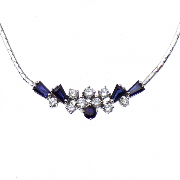 Pre-Loved 18ct White Gold Sapphire & Diamond Necklace