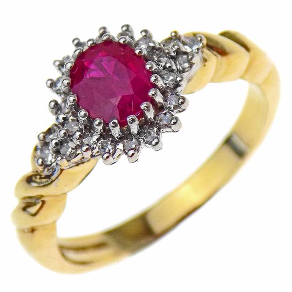 Pre-Loved 9ct Yellow Gold Oval Ruby & Round Diamond Cluster Ring