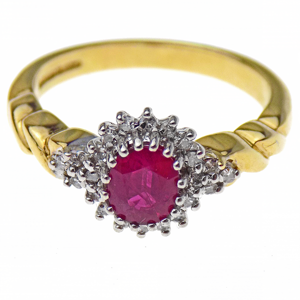 Pre-Loved 9ct Yellow Gold Oval Ruby & Round Diamond Cluster Ring Front