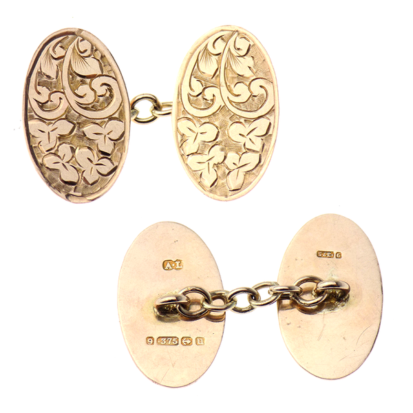 Pre-Loved Gents 9ct Rose Gold Oval Engraved Double Cufflinks
