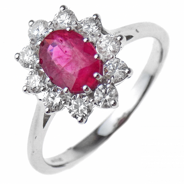 Diamond and Ruby 18ct White Gold Cluster Ring