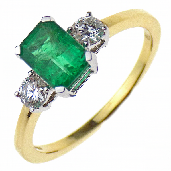 Emerald and Diamond Three Stone 18ct White and Yellow Gold Ring