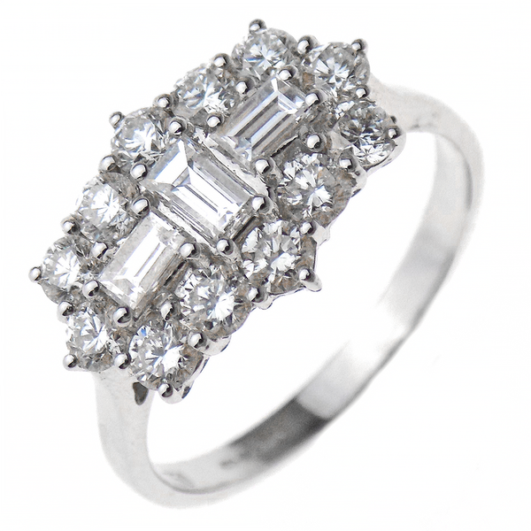 18ct White Gold Baguette and Round Diamond Cluster Ring