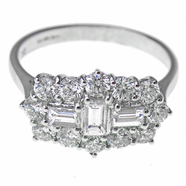 18ct White Gold Baguette and Round Diamond Cluster Ring Front