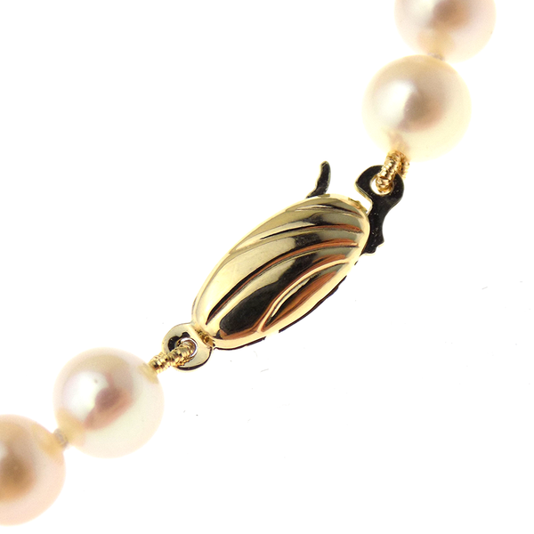 Single Row 6-6.5mm White Round Freshwater Pearl Necklace with 9ct Yellow Gold Clasp