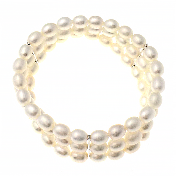 'Lido' Three Row Rice Freshwater Pearl Bracelet