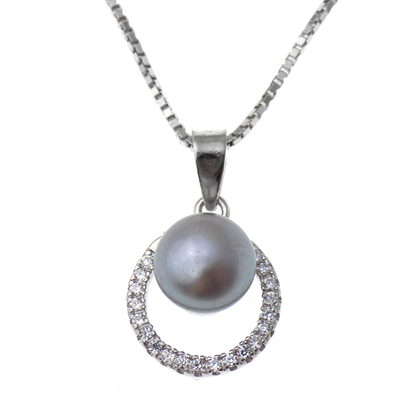 'Lido' Sterling Silver Grey Button Freshwater Pearl with Cubic Zirconia Surround Pendant & Chain