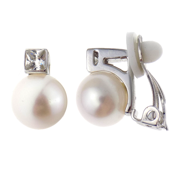 'Lido' Sterling Silver 10mm White Button Freshwater Pearl & CZ Clip On Earrings
