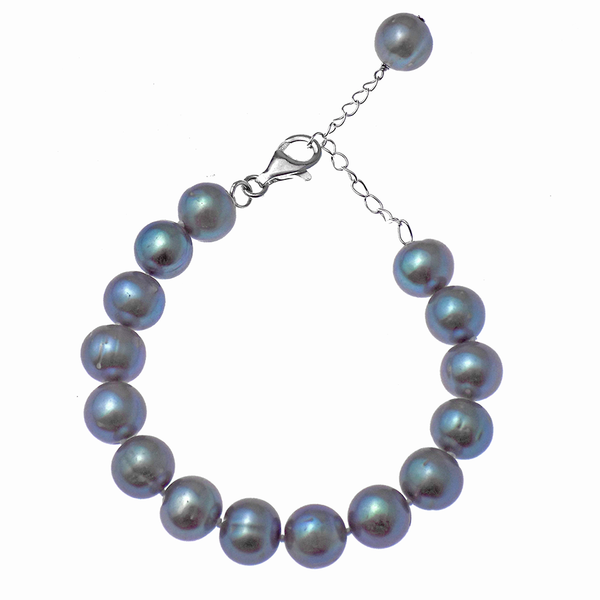 'Lido' Sterling Silver 12-14mm Grey Round Freshwater Pearl Bracelet