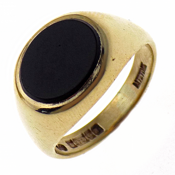 Pre-Loved Gents 9ct Yellow Gold Oval Onyx Ring