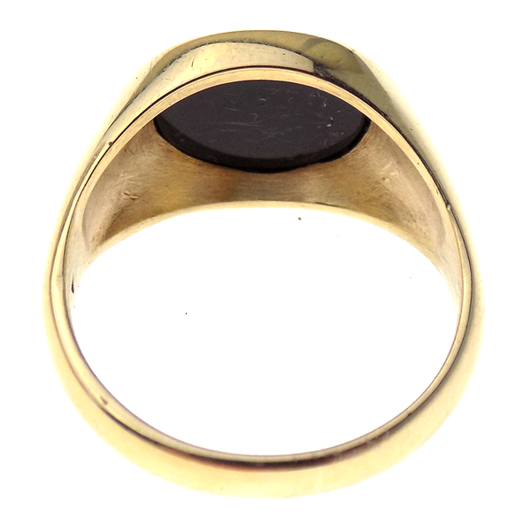 Pre-Loved Gents 9ct Yellow Gold Oval Onyx Ring Reverse