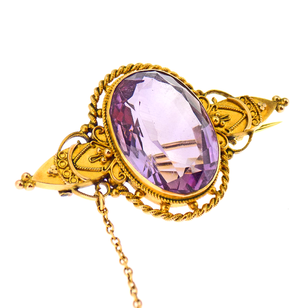 9ct Yellow Gold Large Amethyst Stone Set Brooch