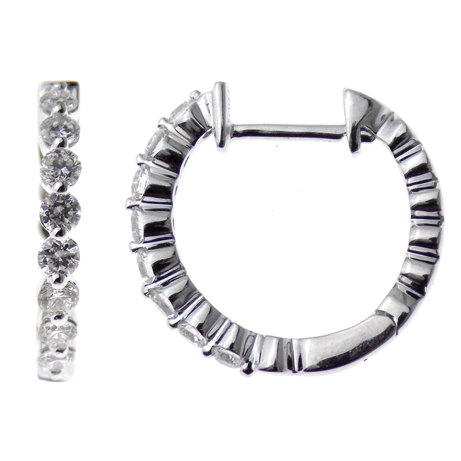 18ct White Gold Round Diamond 0.54ct Hinged Hoop Earrings