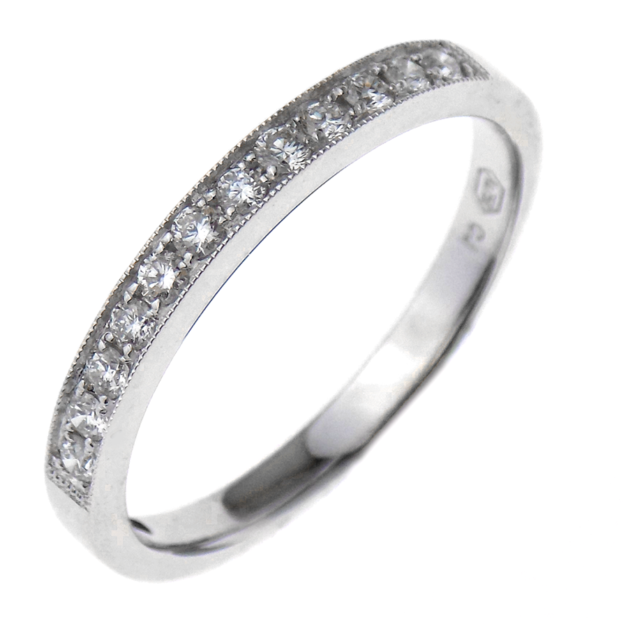 18ct White Gold 0.22ct Diamond Channel Band With Beaded Edge