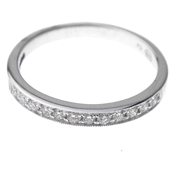 18ct White Gold 0.22ct Diamond Channel Band With Beaded Edge Front