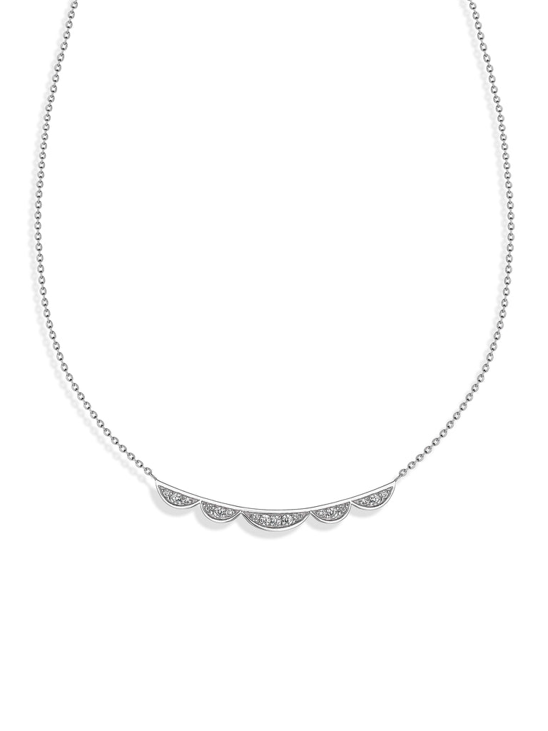 'Vixi' Sterling Silver CZ Lace Bar Pendant & Chain