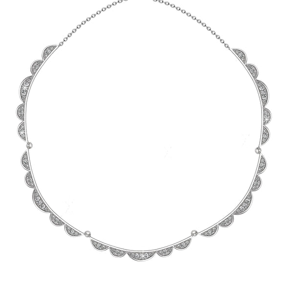 'Vixi' Sterling Silver CZ Lace Collar Necklace