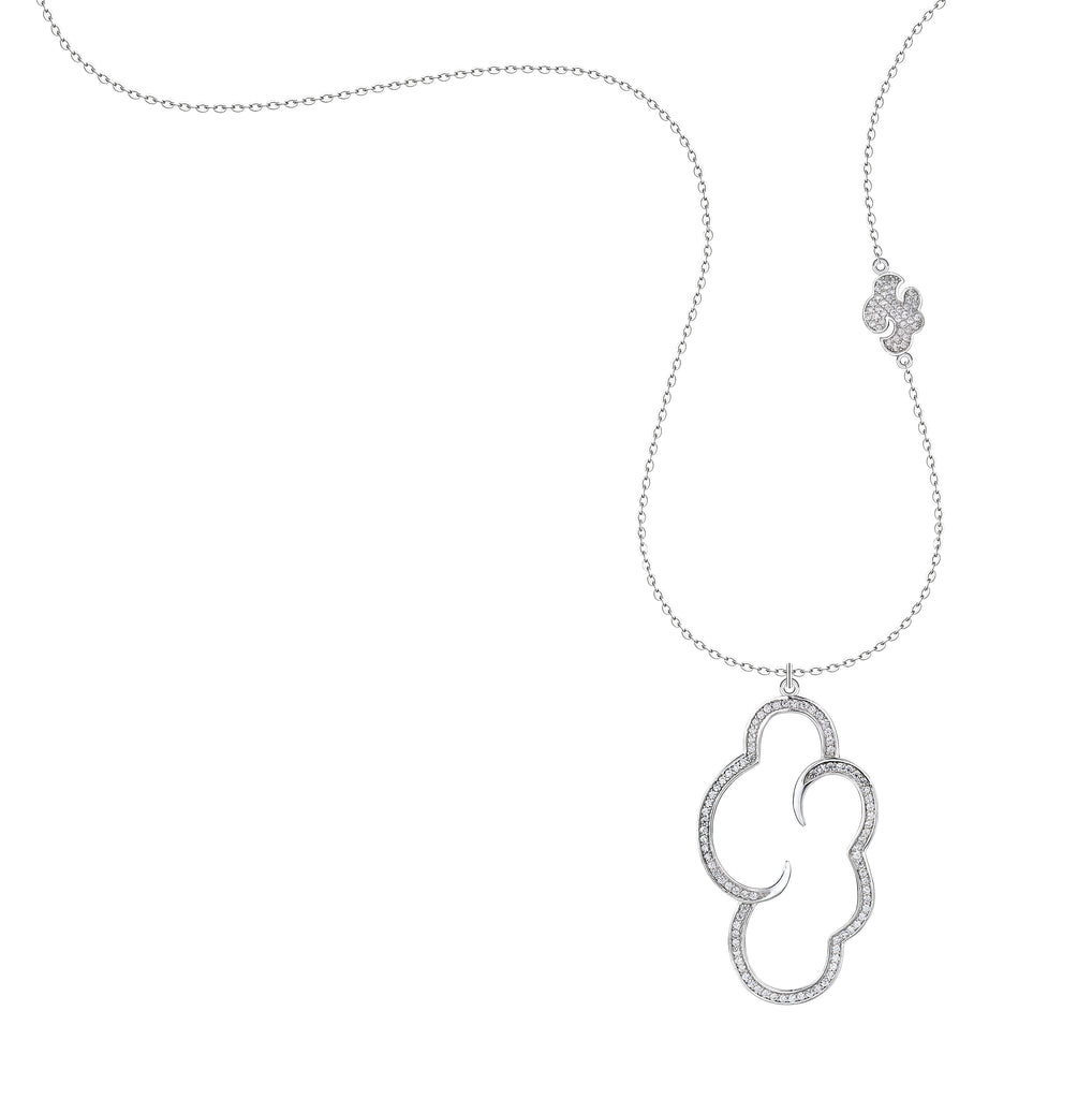 'Vixi' Sterling Silver CZ Large Daydream Pendant & Chain