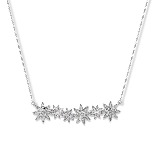 'Vixi' Sterling Silver CZ Nova Star Bar Necklace