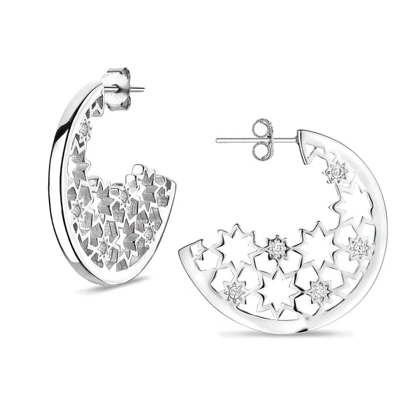 'Vixi' Sterling Silver CZ Nova Nights Star Hoop Earrings