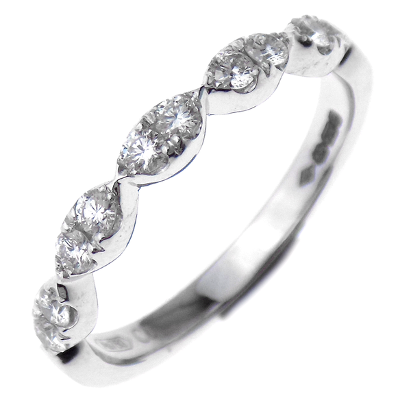 18ct White Gold Diamond Marquise Eternity Ring