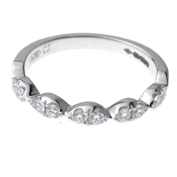 18ct White Gold Diamond Marquise Eternity Ring Front