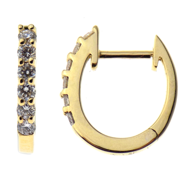 "18ct Yellow Gold 0.25ct Diamond ""Huggie"" Style Hoop Earrings"