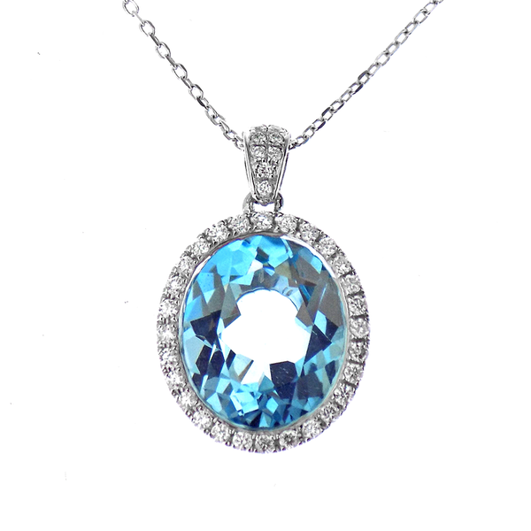 9ct White Gold 5.19ct Blue Topaz & 0.22ct Diamond Oval Cluster Pendant and Chain