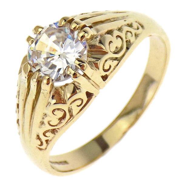 9ct Yellow Gold Large C.Z Stone Set Gents Ring