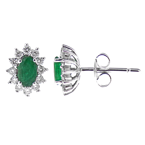 9ct White Gold Diamond 0.24ct & 0.47ct Emerald Cluster Stud Earrings