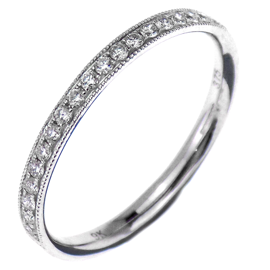9ct White Gold 0.17ct Diamond Half Eternity Band Ring