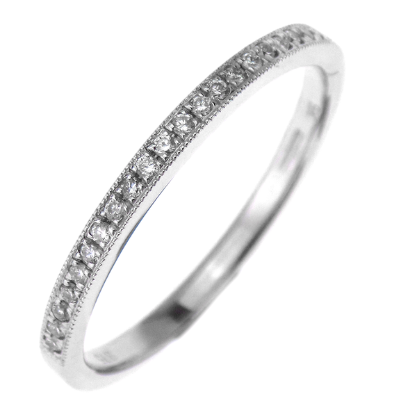 9ct White Gold 0.11ct Diamond Half Eternity Band Ring