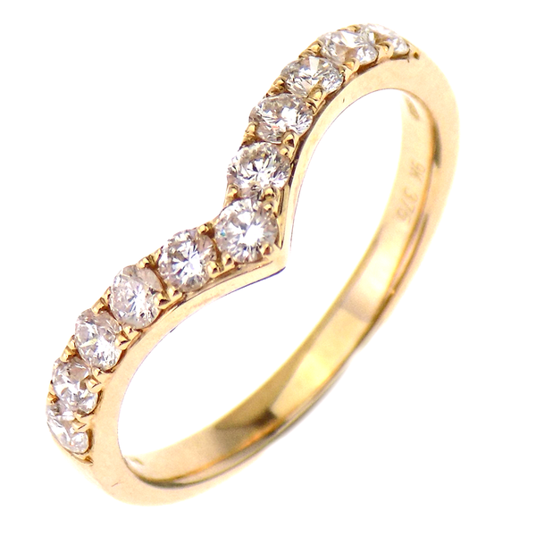 9ct Yellow Gold 0.51ct Diamond Wishbone Shape Eternity Ring