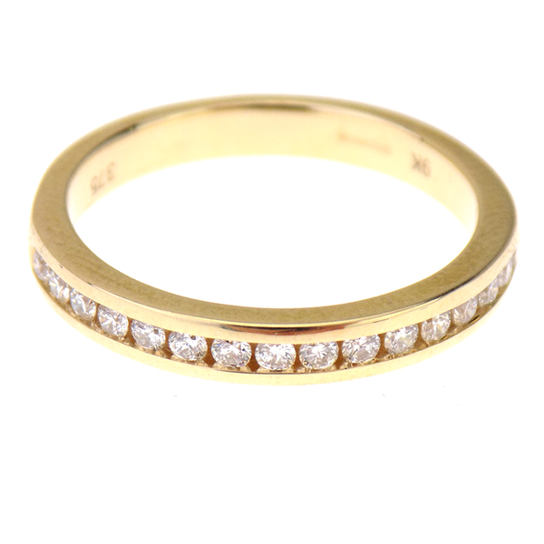 9ct Yellow Gold 0.26ct Diamond Half Eternity Ring Front
