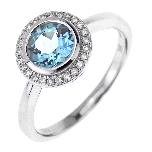 9ct White Gold 0.10ct Diamond & 0.80ct Aquamarine Round Cluster Ring