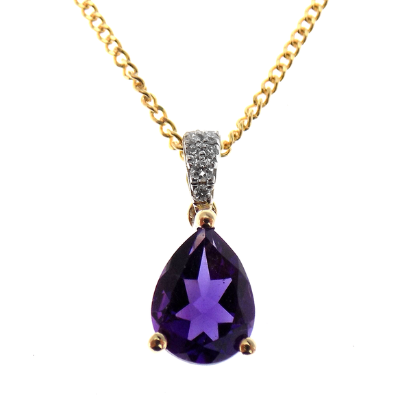 9ct Yellow Gold 0.88ct Amethyst & 0.04ct Diamond Pear Shaped Pendant & Chain