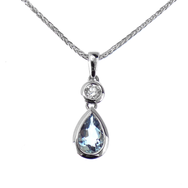 18ct White Gold 0.06ct Diamond & 0.34ct Aquamarine Pear Shaped Pendant & 9ct Gold Chain