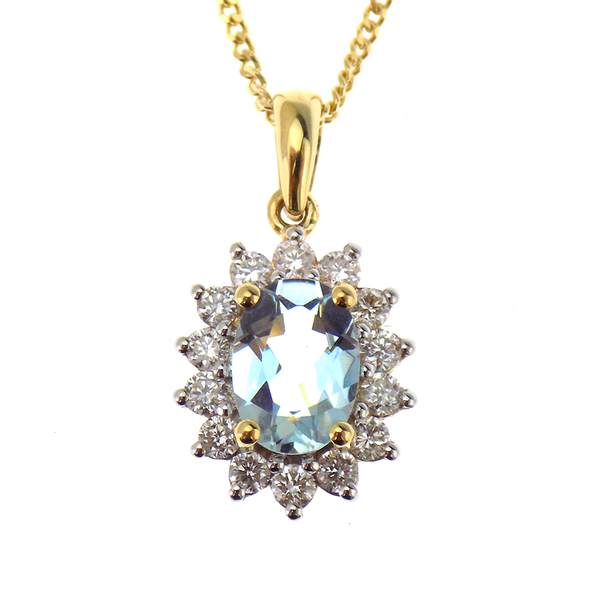 18ct Yellow Gold 0.65ct Aquamarine & 0.30ct Diamond Oval Cluster Pendant & Chain