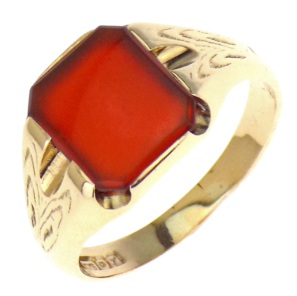 9ct Yellow Gold Gents Cornelian Stone Set Ring