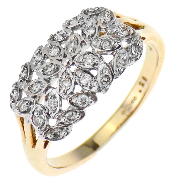 9ct Yellow Gold 4 Row Diamond Stone Set Leaf Design Cluster Style Ring