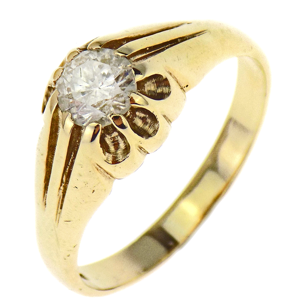 9ct Yellow Gold Gents Diamond Stone Set Ring