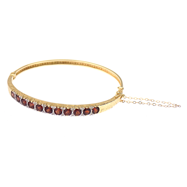 9ct Yellow Gold Garnet And Diamond Stone Set Bangle