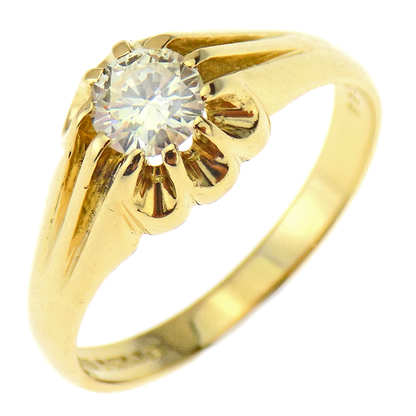 18ct Yellow Gold Single Stone Diamond Set Gents Ring