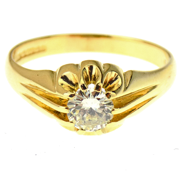 18ct Yellow Gold Single Stone Diamond Set Gents Ring Front