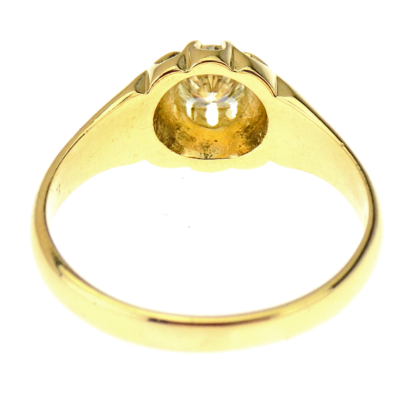 18ct Yellow Gold Single Stone Diamond Set Gents Ring Reverse