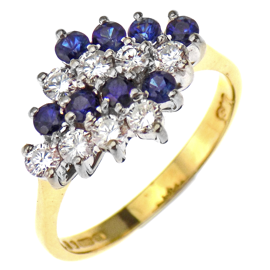 Pre-Loved 18ct Yellow Gold Diamond & Sapphire Stripey Cluster Ring