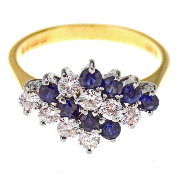 Pre-Loved 18ct Yellow Gold Diamond & Sapphire Stripey Cluster Ring Front